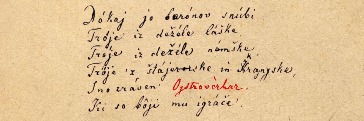 Del Prešernove pesnitve Turjaška Rozamunda, z omenjenim vitezom Ostrovrharjem