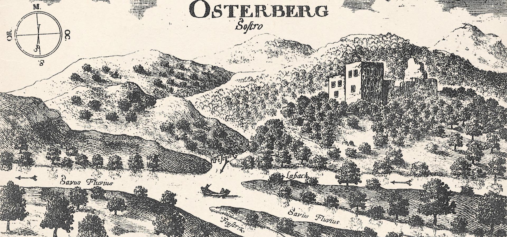Bakrorez iz Valvasorjeve knjige, ki prikazuje opuščen grad Osterberg