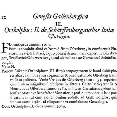 Del Schonlebnove Genealogije Gallenberg, kjer je navedena letnica postavitve gradu v Podgradu, 1015 ( Genealogiaj je izšla leta 1680).