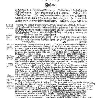 Tekst v Valvasorjevi Slavi vojvodine Kranjske o gradu Osterberg, kjer povzema J. L. Schonlebna