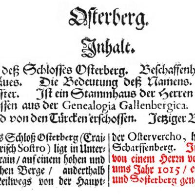Izsek iz Valvasorjeve Slave vojvodine kranjske s podčrtano letnico izgradnje prvega gradu v Podgradu